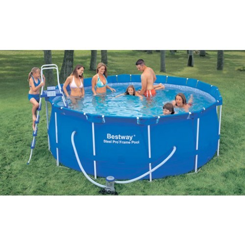 easy set up bestway deluxe steel frame 12ft x 4ft swimming pool for home garden fun bennetts. Black Bedroom Furniture Sets. Home Design Ideas