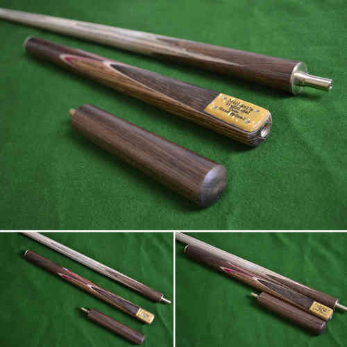 57 Inch Handmade Rare Multi-Handspliced Gabon Zebrawood Ash Snooker/Pool Cue with Mini-Butt.