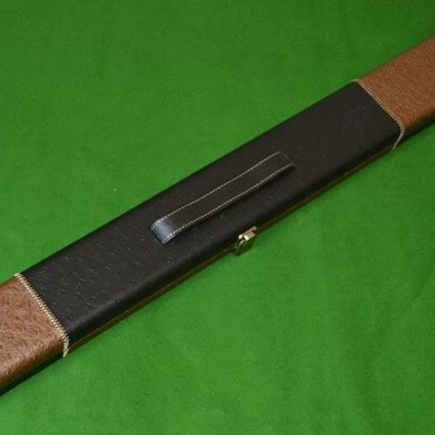 Luxury Hand Crafted Leather Brown and Black 3/4 jointed Hard Snooker Cue Case.