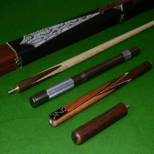 Handmade 4 piece ZEBRA WOOD INLAYED Ash Snooker/Pool Cue Complete Set