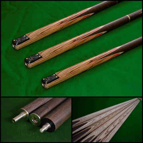 "57"" Handmade Multi-Spliced Rare Andiroba, Brazilian Cherry and Rosewood Snooker/Pool Cue"