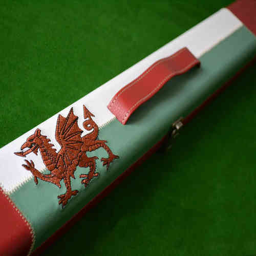 Hand Stitched Welsh Dragon Flag 3/4 Snooker Cue Case in Green, Red and White.