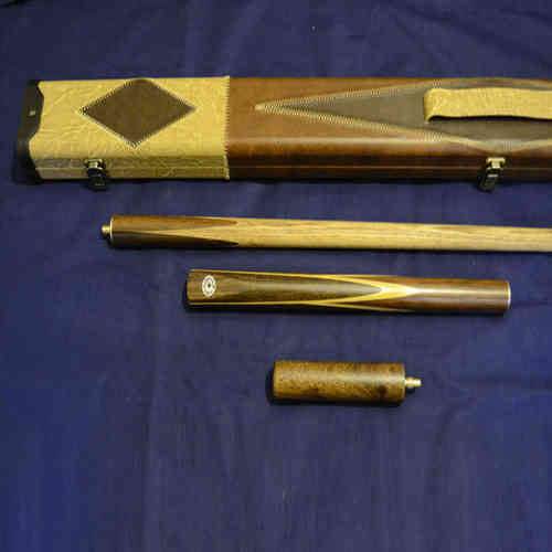 Handcrafted 3/4 piece Ash Snooker/Pool Cue with Leather Cue Case and Screw in Mini-Butt.