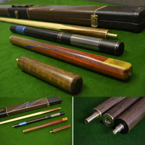 57 Inch Handmade Snooker cue, Rosewood Butt, Ash Shaft, Case, Mini Butt and Extension