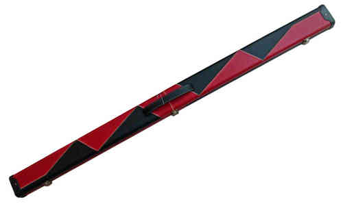 Luxury Hand Crafted Leather Red and Black Design 3/4 jointed Hard Snooker Cue Case.