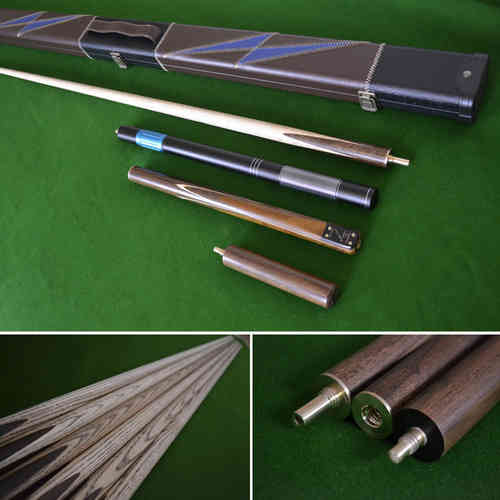 "57"" Handmade 3/4 Snooker Cue, Rosewood Butt, Ash Shaft, Stunning Case, Mini-Butt and an Extension."