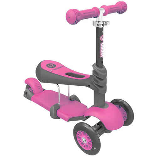 Childrens Yvolution Y Glider 3 in 1 Scooter - Pink