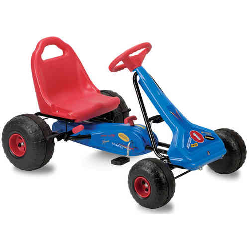 Boy's Chain Driven Pedal Powered Streetfox Go-Kart - Blue/Red