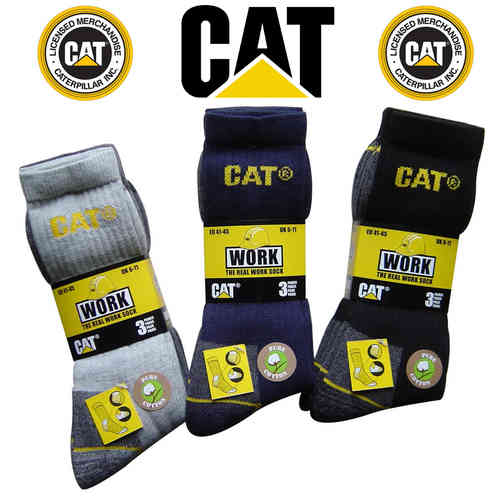Caterpillar Work Socks Cotton Pack of 3 Mens Various Options