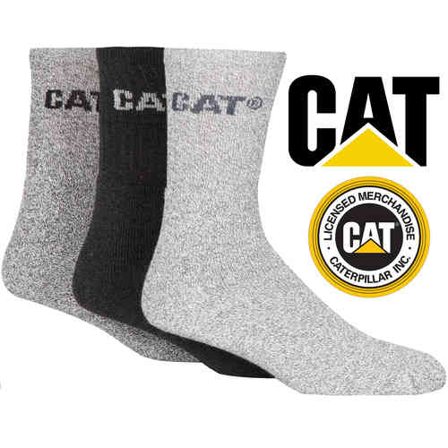 Caterpillar Thick Work Boot Socks Cotton Pack of 3 Mens Various Options