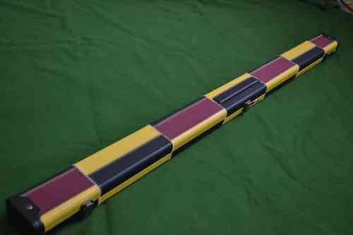 3/4 Retro Style Snooker Cue Case - Purple/Black/Yellow