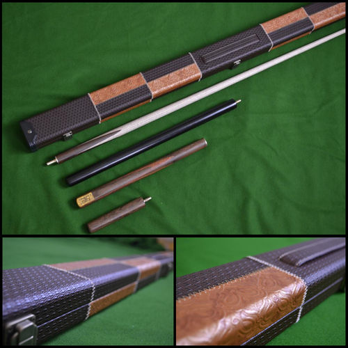 Handmade 4 piece Snooker Cue (Rosewood) - Case - Extension - Mini Butt