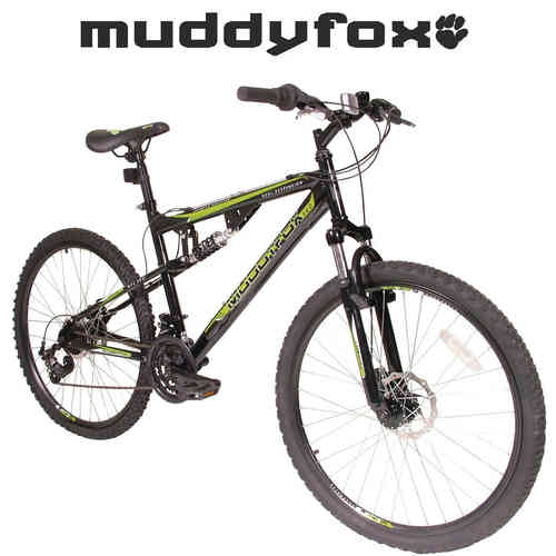 "Muddyfox 26"" Livewire Full Suspension Bike - Mens - Black and Green"