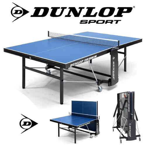 Dunlop EVO 6000 HD Full Size Indoor Table Tennis Table In Blue With Bats, Balls and Net Included