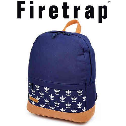 Firetrap Aztec Print Rucksack - Blue and Light Tan