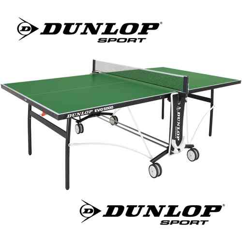 Dunlop EVO 5000 Full Size Outdoor Table Tennis Table In Green With Bats, Balls and Net Included