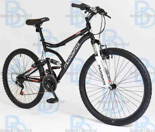 "Muddyfox Chaos 26"" Gents Dual Suspension Mountain Bike in Black and White"