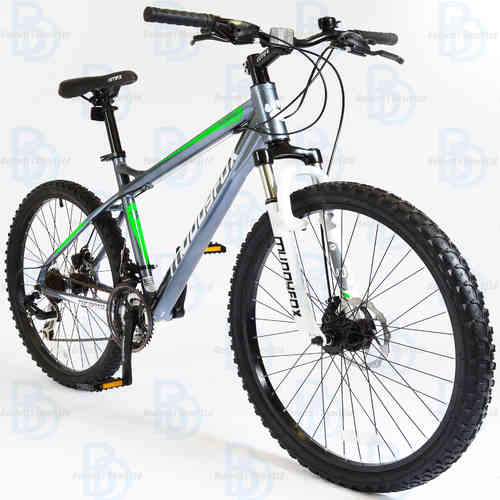 "Muddyfox Toronto 26"" Boys Hardtail Mountain Bike - Grey and Green"