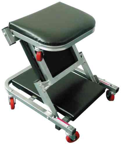 Mechanics Padded Folding Creeper Seat With Castors and Silver Paint Finish