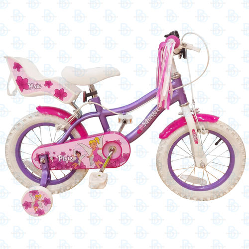 "Silverfox Pixie 14 "" Girls Bike - Pink and White"