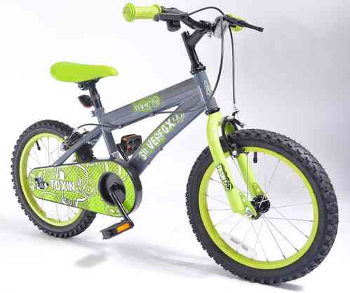 "Silverfox Toxin 16 "" Boys Bike - Green and Black"