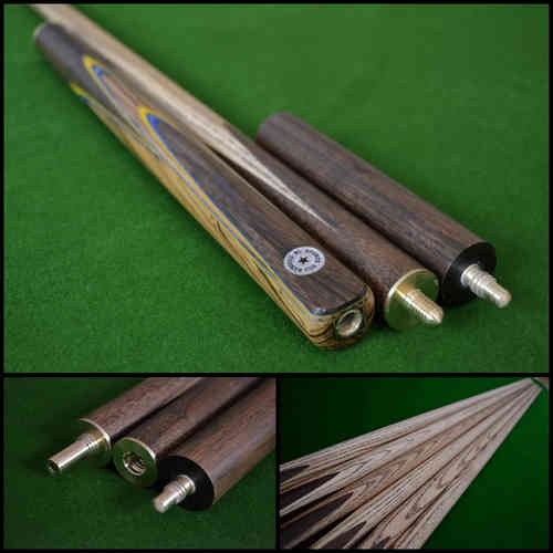 "57"" Handmade/Hand-Spliced Snooker Cue (Butt: Rosewood with Yellow/Blue inlays)"