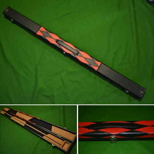 Handmade 3/4 Diamond Style Snooker Cue Case - Red/Black