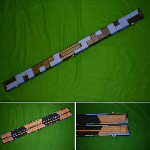Handmade 3/4 Patchwork Style Snooker Cue Case - Blue/Black