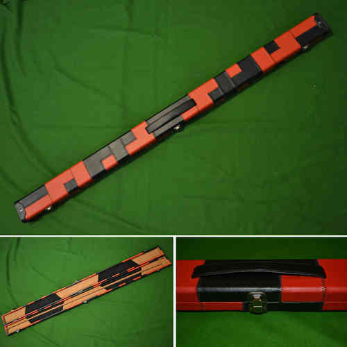 Handmade 3/4 Patchwork Style Snooker Cue Case - Red/Black