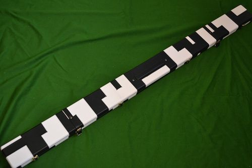 Handmade 1 Piece Wide Snooker Cue Case - Black/White - (Holds 4 x 1 Piece Cues)