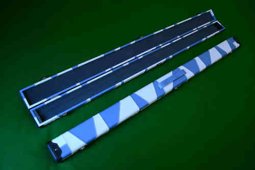 Handmade 3/4 Deluxe Patchwork Style Snooker Cue Case - White/Blue