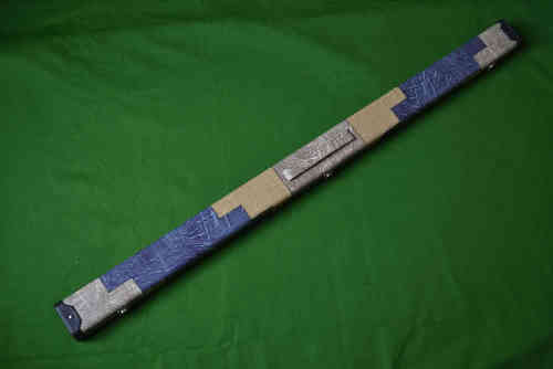 Handmade 3/4 Denim Design Snooker Cue Case - Blue/Mustard and Cream