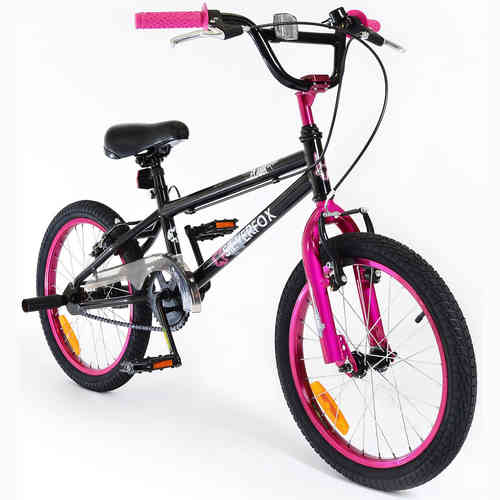"Silverfox Plank 18"" BMX Bike - Pink and Black - Stunt Pegs"