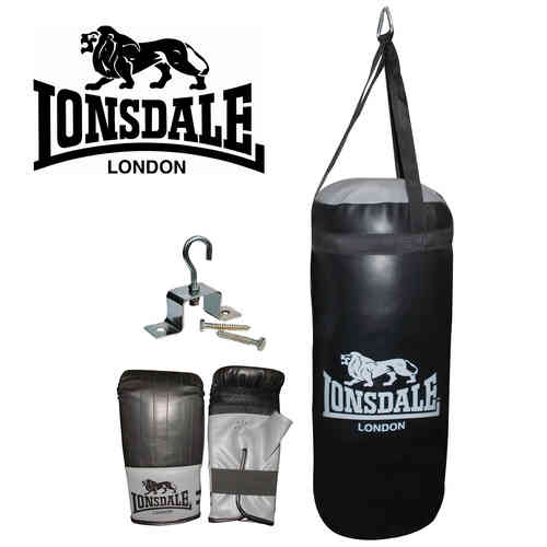 Lonsdale 2ft Punch Bag and Glove Set - Junior Jab Boxing Complete Set - Black and Grey