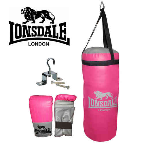 Lonsdale 2ft Punch Bag and Glove Set - Junior Jab Boxing Complete Set - Pink and Grey