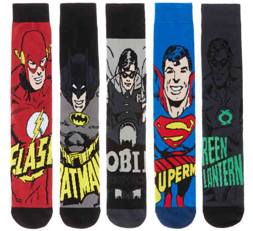 DC Comics Superhero Mens 5 Pack Ribbed Socks Featuring Justice League Heroes Batman, Superman, Robin