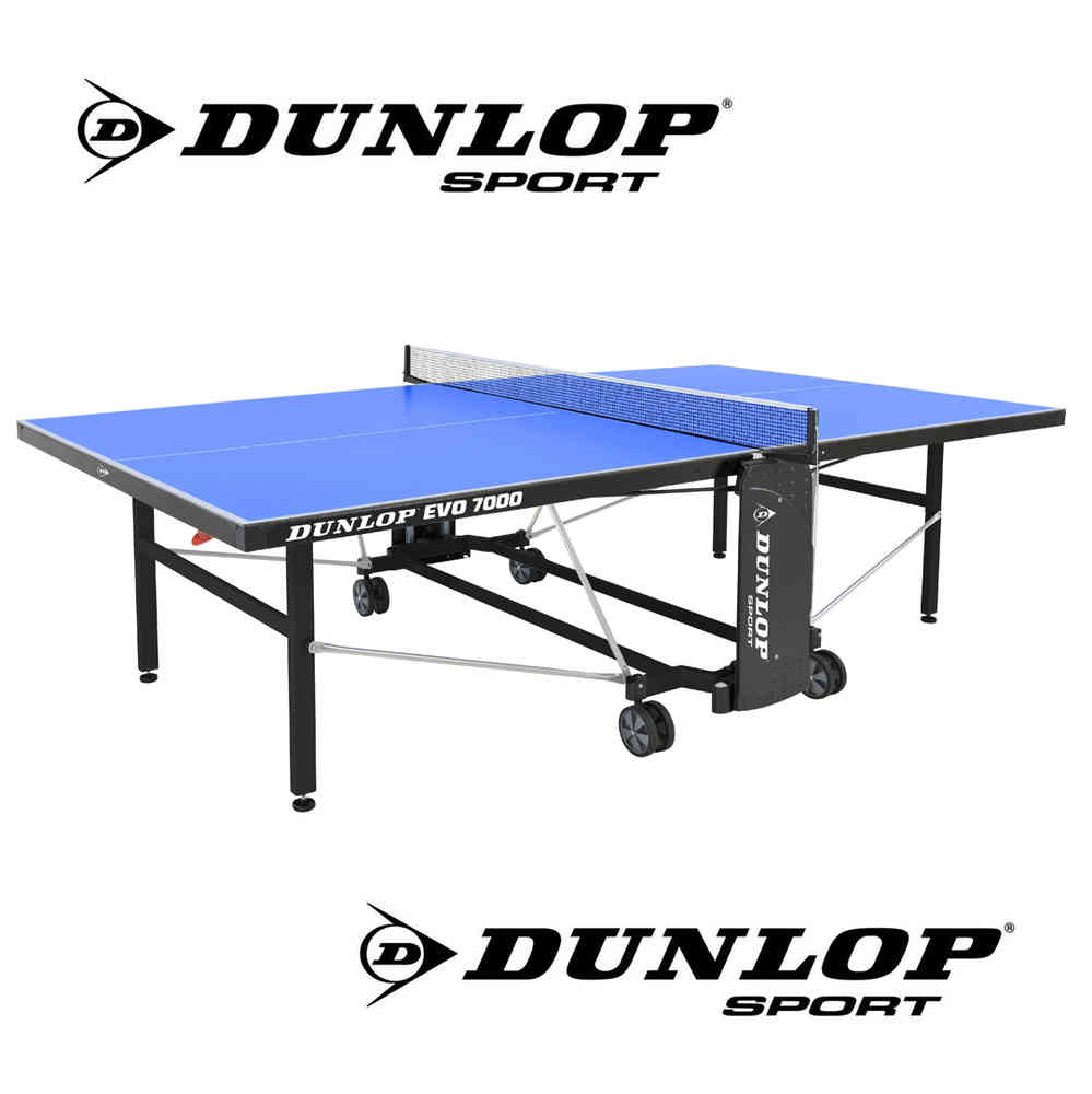 Dunlop EVO 7000 Full Size Outdoor Table Tennis Table In Blue With Bats,  Balls And