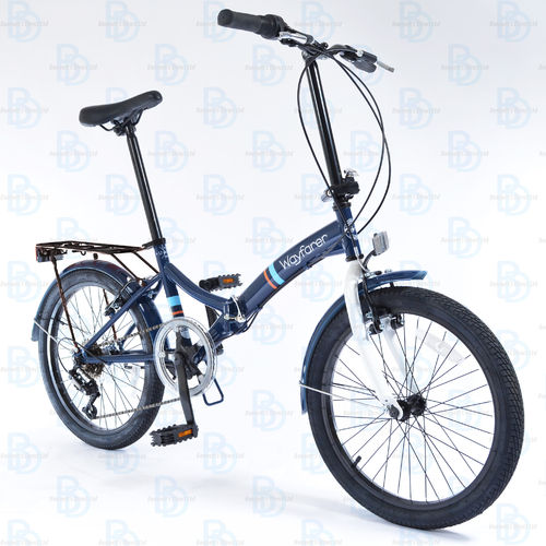 "Universal Wayfarer 20"" Unisex City and Trek Folding Bike - Navy and White"