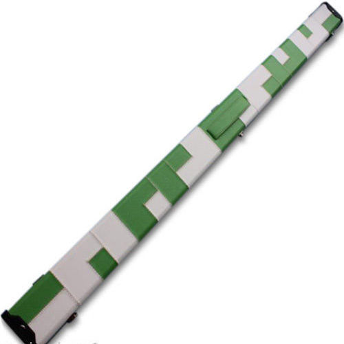 Handmade 3/4 Deluxe Patchwork Style Snooker Cue Case - Green / White