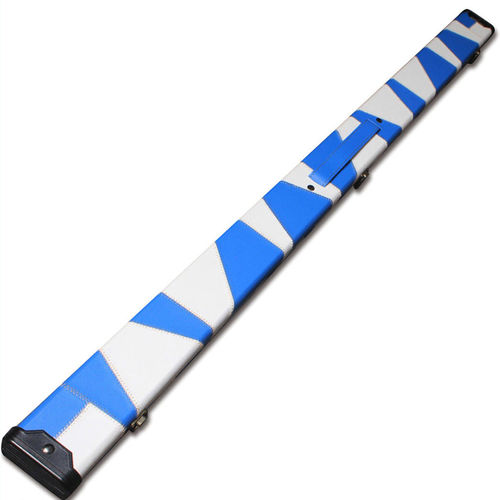 Handmade 3/4 Deluxe Patchwork Style Snooker Cue Case - Blue / White