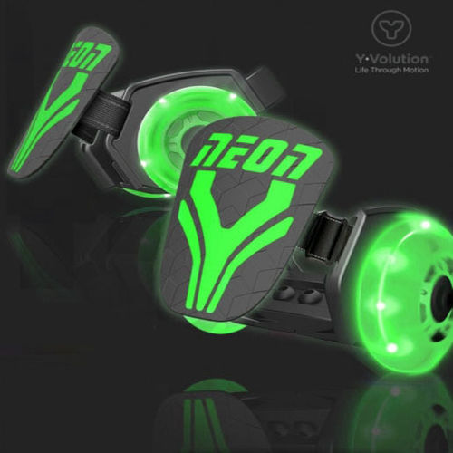 Neon Light up Street Rollers - Green - Light up Clip on Skates - Adjustable Size - 6 years +