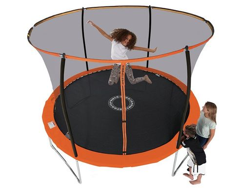 10ft Black and Orange Trampoline With Folding Enclosure