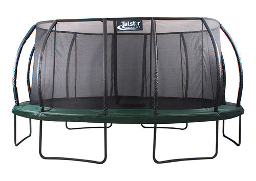 14ft x 17ft Telstar Oval Jump Capsule DELUXE MkII Trampoline with Stay Safe Enclosure - Cover/Ladder