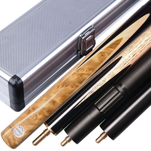 "Stylish 57"" Handmade 3/4 Piece Snooker Cue Complete Set Ash Shaft with Aluminium case"
