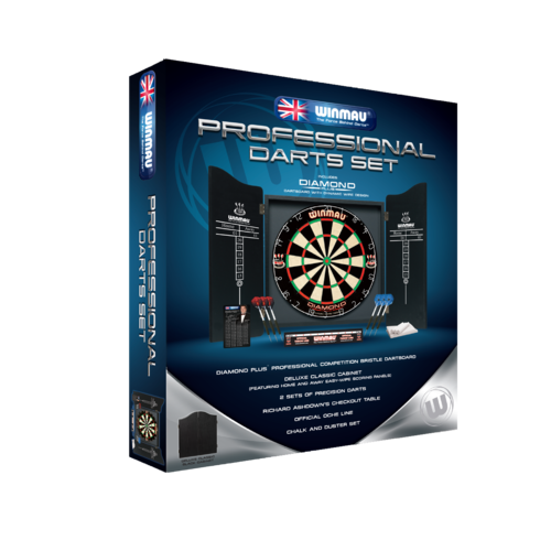 Winmau Professional Dart Set With Diamond Dartboard, 2 x Sets of Darts and Black Classic Cabinet