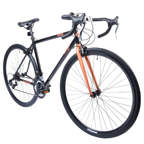 Muddyfox Omnium 700c Road Bike in Black and Rose Gold with 14 Speed