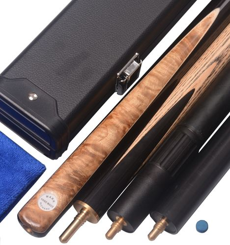 "Stylish 57"" Handmade 3/4 Piece Snooker Cue Ash Shaft and Ebony/Burl Spliced Butt Complete Set"
