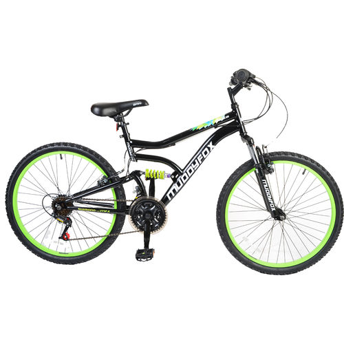 "Muddyfox Delta 24"" Boys Dual Suspension Mountain Bike in Black and Green"