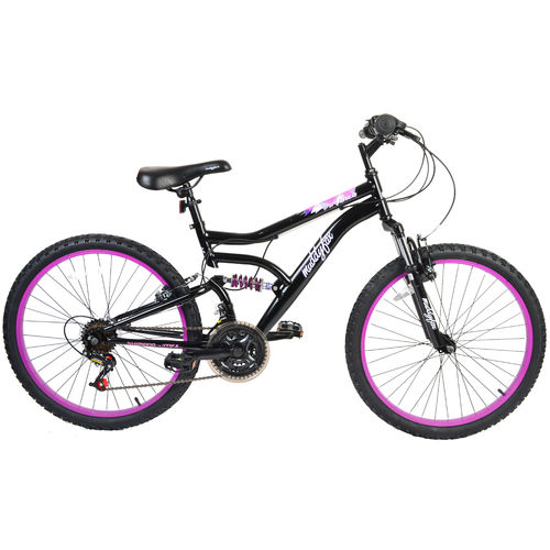 "Muddyfox Inca 24"" Girls Dual Suspension Bike in Black and Pink 18 Speed"