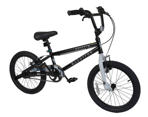"Muddyfox Griffin 18"" BMX Bike with Stunt Pegs in Black and White - Boys - Exclusive New Model"